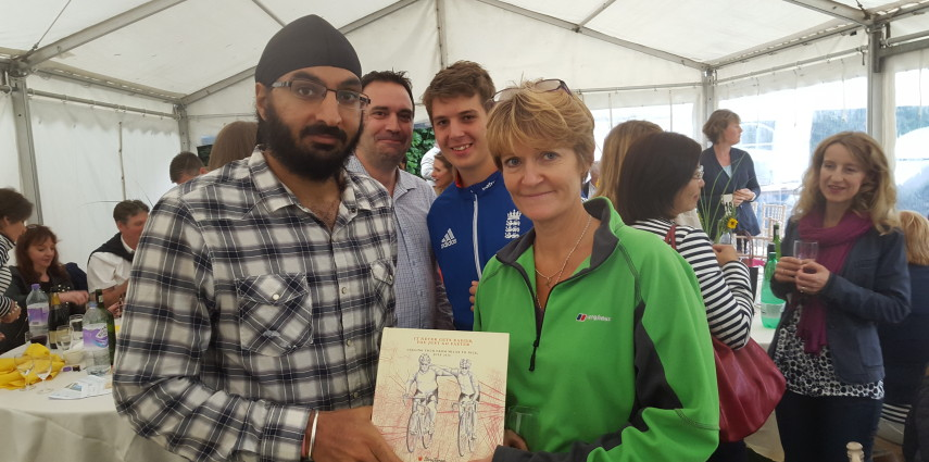 Monty Panesar presents Sarah Murphy with Story Book Gift