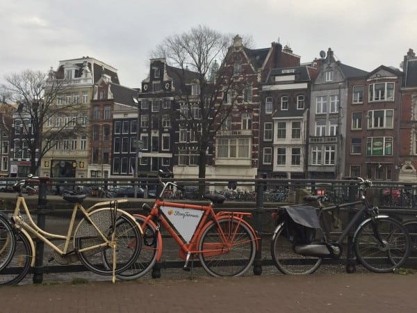 Row of bikes in Amsterdam