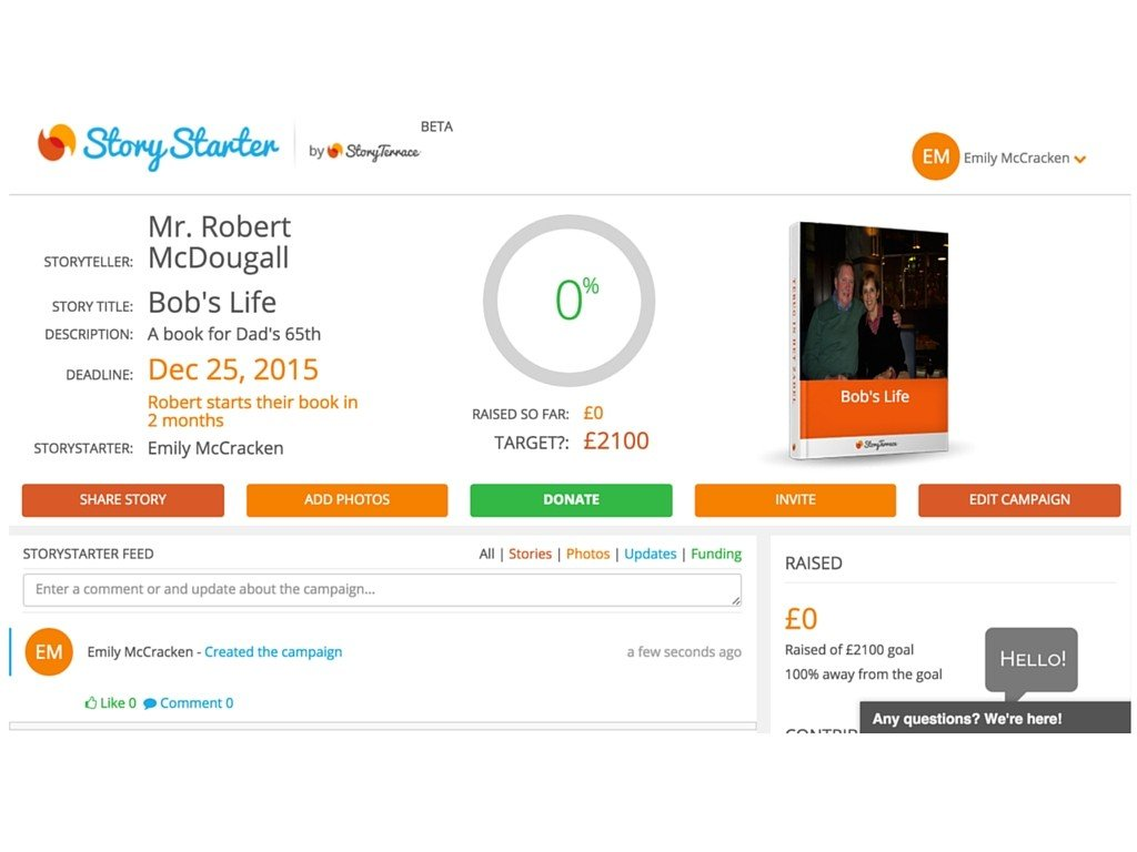 StoryStarter Dashboard Screenshot