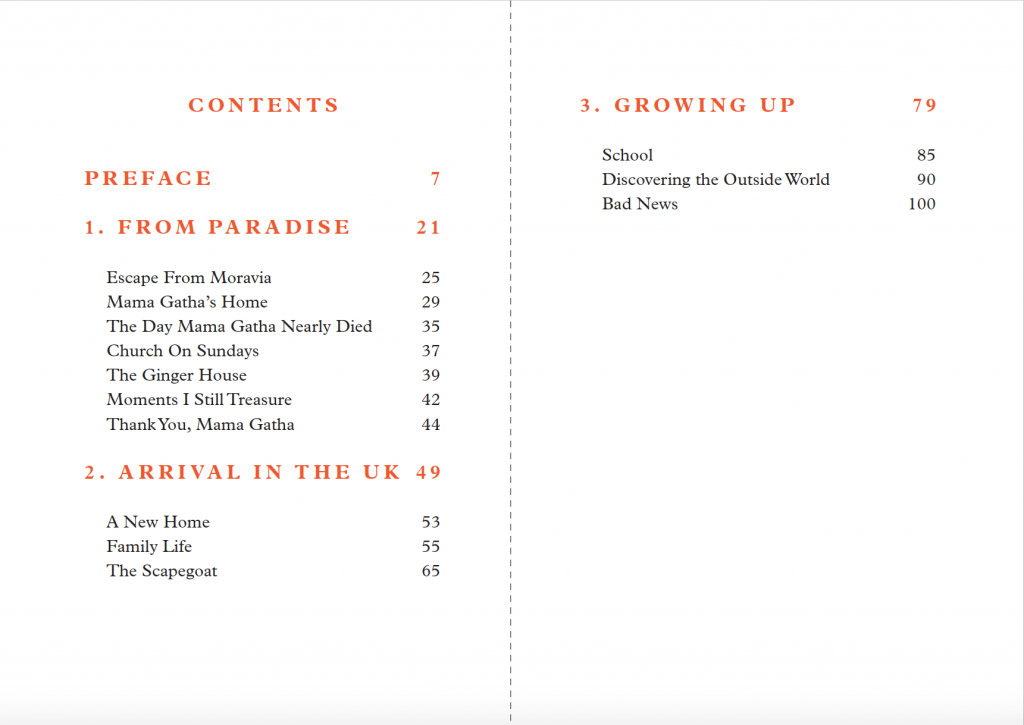 Contents pages from Eleanor Brooks' storybook