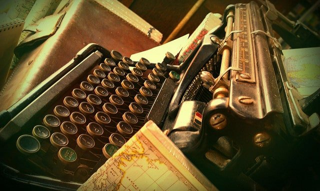 A typewriter ready to be used