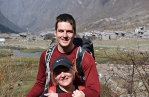 Row and Tom in front of Langtang before the Earthquake