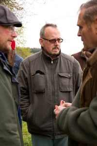 John on the set of the film Traveller, with director Benjamin Johns and horse handler Charlie Cooper
