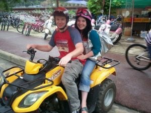 James and Helena riding a quad bike in Chuncheon in 2008